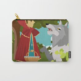 little red hood and big bad wolf in the forest tale Carry-All Pouch