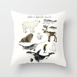 Arctic & Antarctic Animals Throw Pillow