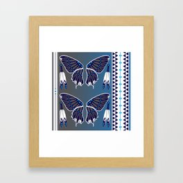 Butterfly Nation Blue Framed Art Print