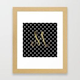 """Retro Black and White Polka Dot with Gold """"M"""" Monogram Framed Art Print"""