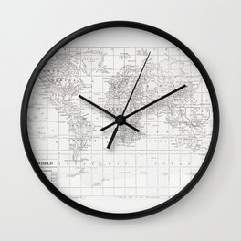 World Map ~ White on White Wall Clock
