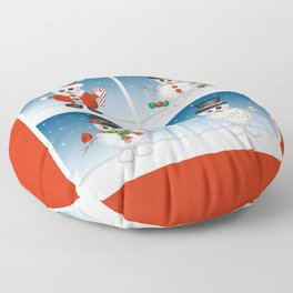 Cute Snowmen with Ornaments, Candy Cane and Strand of Lights Floor Pillow