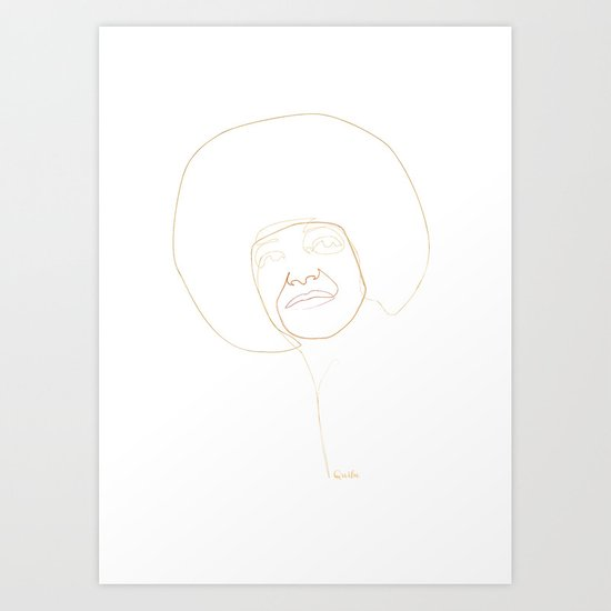 one line Angela Davis Art Print