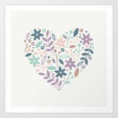 Floral Heart - in Cream Art Print