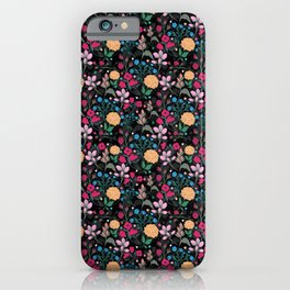 Pretty Pink & Yellow Small Floral Black Design iPhone Case