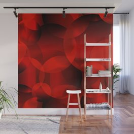 Abstract soap  of red molecules and bubbles on a bloody background. Wall Mural