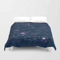 ships Duvet Covers featuring Star Ships by Mandrie