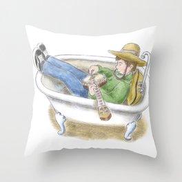 Bathtub Banjo Throw Pillow