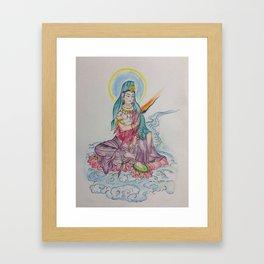 Sidhartha sitting on Lotus (water color) Framed Art Print