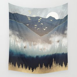 Blue Mountain Mist Wall Tapestry