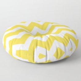 Vintage Yellow and White Chevron Zig Zag Pattern Floor Pillow