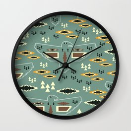 Native pattern with birds Wall Clock