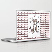 pit bull Laptop & iPad Skins featuring Love is a pit bull No.2 by Shay by design