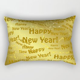 new year Colorful design happy new year text in gold, festive, elegant gift for anyone in the family Rectangular Pillow