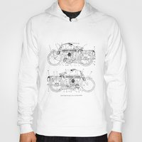 motorcycle Hoodies featuring Motorcycle Diagram by marcusmelton