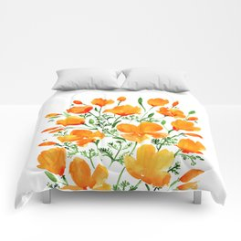 Watercolor California poppies Comforters