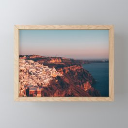 Santorini at Sunset Framed Mini Art Print