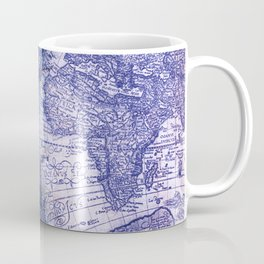 World Map Antique Vintage Navy Blue Coffee Mug