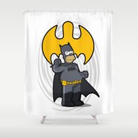 simpsons Shower Curtains featuring bat-homer: the Simpsons superheroes by logoloco