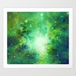 Vibrant Green Blue Orion Nebula Art Print
