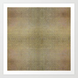 Gold and Silver Leaf Bridget Riley Inspired Pattern Art Print