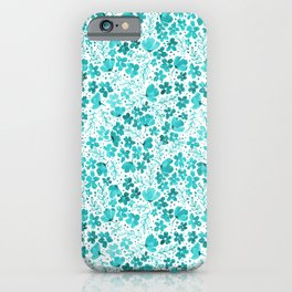 Turquoise Watercolor Floral Pattern iPhone Case