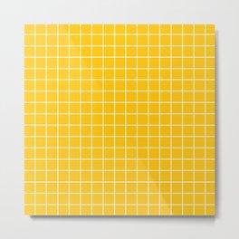 Mikado yellow - yellow color -  White Lines Grid Pattern Metal Print