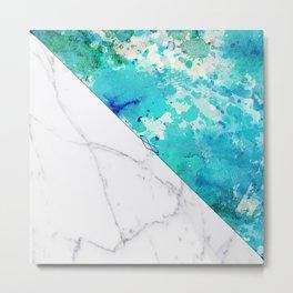 Teal watercolor paint splatters white marble Metal Print