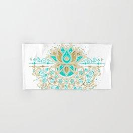 Sacred Lotus Mandala – Turquoise & Gold Palette Hand & Bath Towel