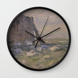Claude Monet - Cliff and Porte d'Aval by Stormy Weather.jpg Wall Clock
