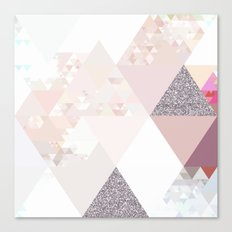 Triangles in glittering Rose quartz - pink glitter triangle pattern Canvas Print