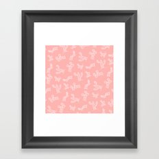 Modern hand drawn geometric aztec cactus pattern on pink Framed Art Print
