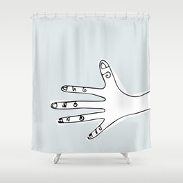 """Nice to Meet You"" from Minimalist Hand Collection Shower Curtain"