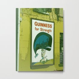 Guinness beer art print - 'Guinness for strength' vintage sign in green - vintage beer poster Metal Print