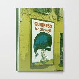 Guinness beer art print - 'Guinness for strength' vintage sign in green - vintage beer poster Metal Print