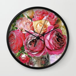 Red yellow and pink roses branch Wall Clock