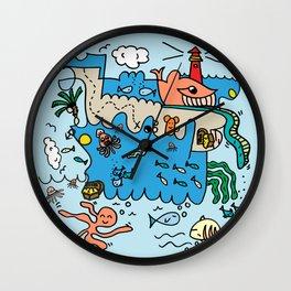 Sea Doodle World Animals Wall Clock