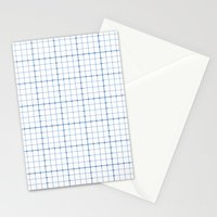Dotted Grid Weave Blues Stationery Cards