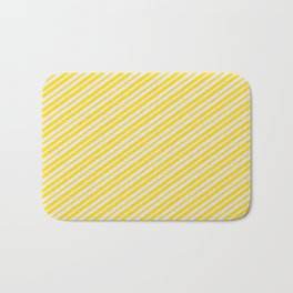 Yellow & Lavender Colored Lines Pattern Bath Mat