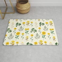 Yellow daisy pattern  Rug