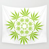 cannabis Wall Tapestries featuring Cannabis Leaf Circle (White) by Thisisnotme