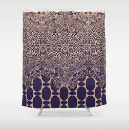 floral border with geo mix monochrome Shower Curtain
