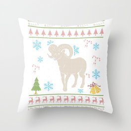 Big Horn Mountain Sheep Hunting Christmas Ugly Holiday Shirt Throw Pillow