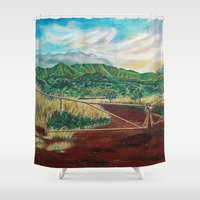 country Shower Curtains featuring Country by Art by Risa Oram
