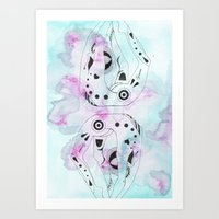 gemini Art Prints featuring GEMINI by Heaven7