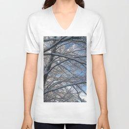 Snow-decorated trees Unisex V-Neck