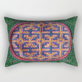 Song for Creativity - Traditional Shipibo Art - Indigenous Ayahuasca Patterns Rectangular Pillow