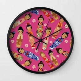 Kokeshi Doll Pink Wall Clock