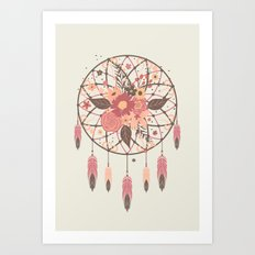 Floral Dreamcatcher Art Print
