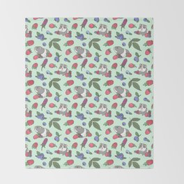 Guinea Pig Pattern in Mint Green Background with mix berries Throw Blanket